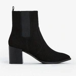 Black Pointed Toe Chunky Heel Bootie